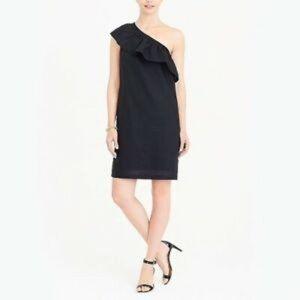 J CREW Black One Shoulder Linen Dress M